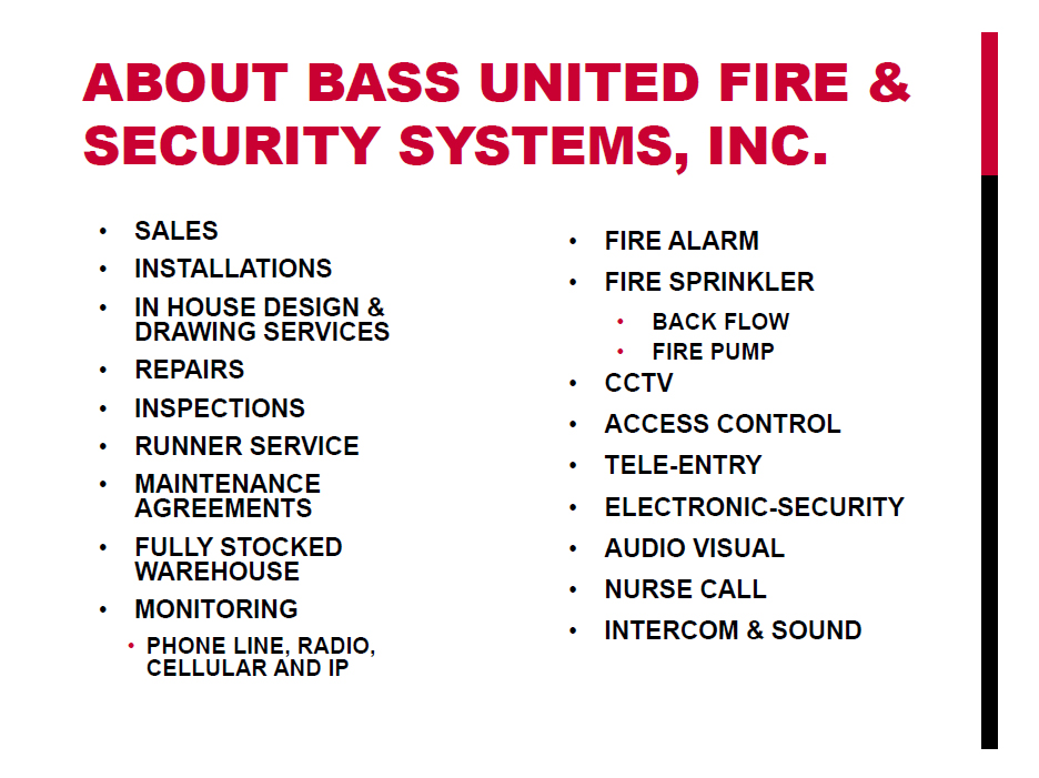 Media | Fire and Security Systems, Inc  | Bass United